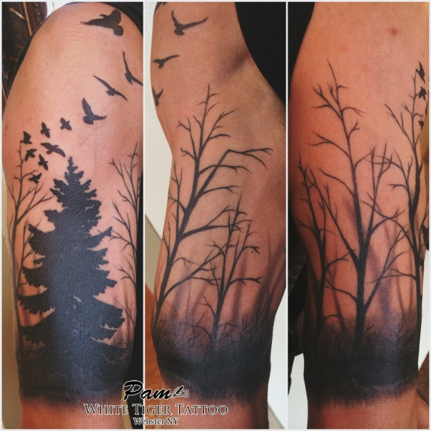 misty forest tattoo