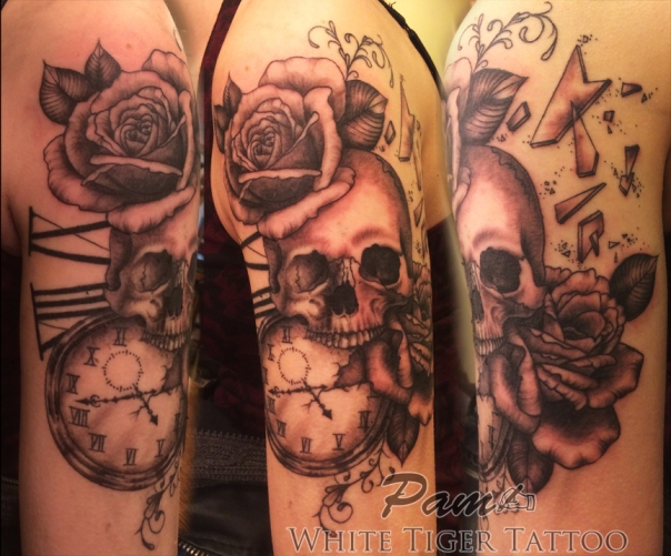 skull roses & pocket watch tattoo